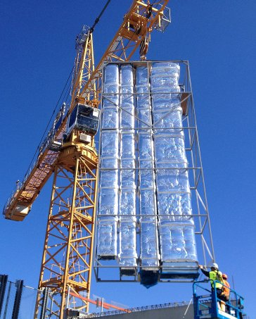 Prefabricated units lowered into Blacktown Hospital