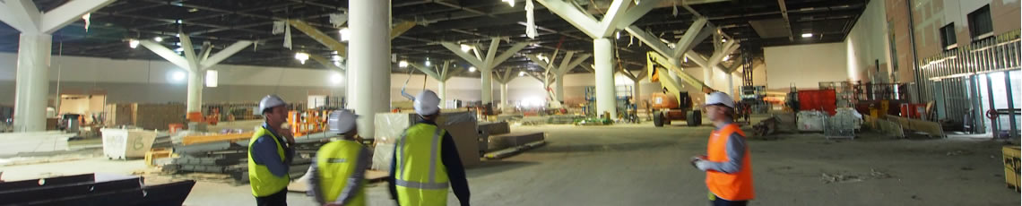 The lower exhibition hall takes shape at Darling Harbour, Sydney
